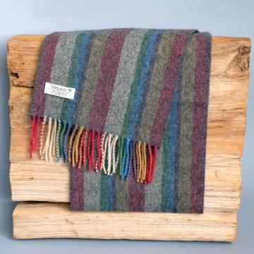 John Hanly lambswool scarf with colourful stripes