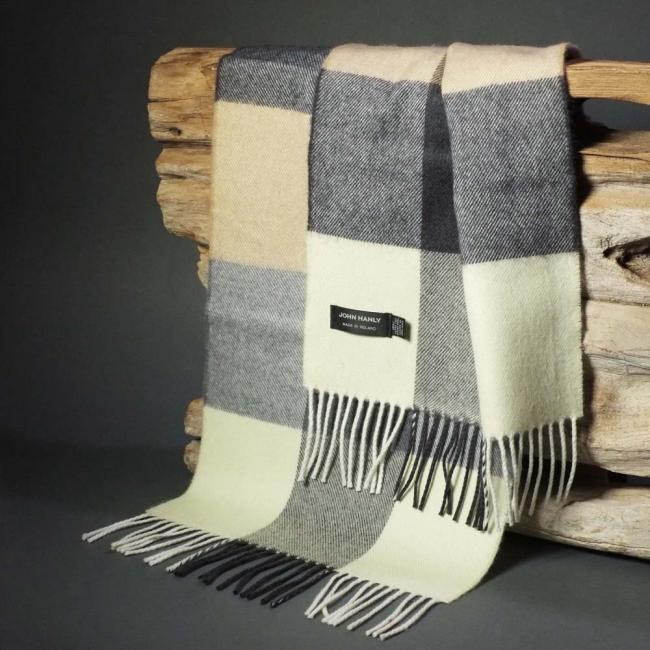 John Hanly merino wool scarf with camel ecru and grey block check pattern