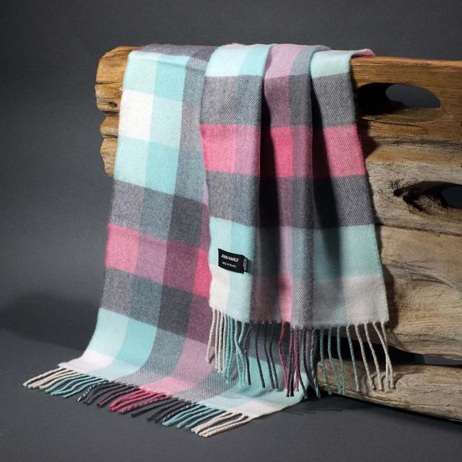 John Hanly merino wool scarf with turquoise pink grey and ecru check pattern