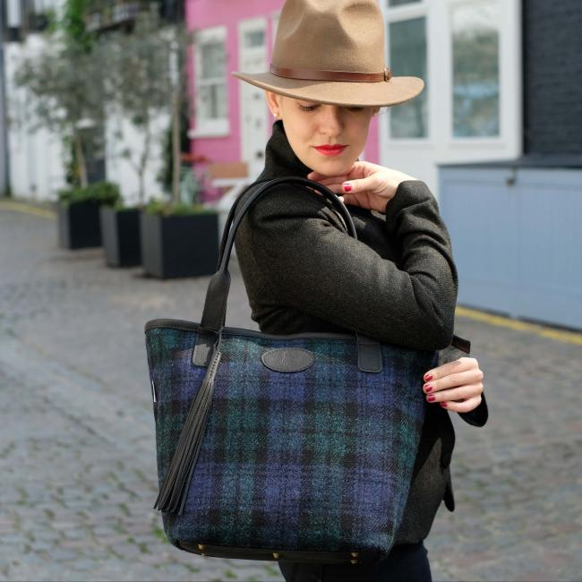 Handmade Shopper Bag in Black Watch Harris Tweed and Deer Leather