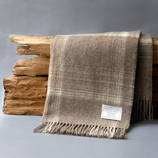 Brown Check Blanket in pure new wool by Bronte