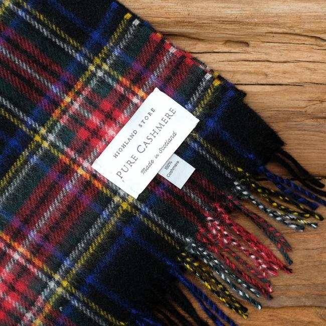 Cashmere scarf in the traditional Black Stewart Tartan