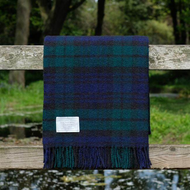 Highland Store Utility Rug Black Watch. Pure Wool Throw in Black Watch. Tartan Blanket