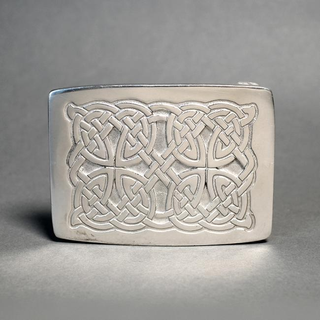 Pewter Kilt Buckle with Celtic Interface