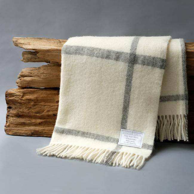 Undyed Pure New Wool Windowpane Blanket in Cream and Grey