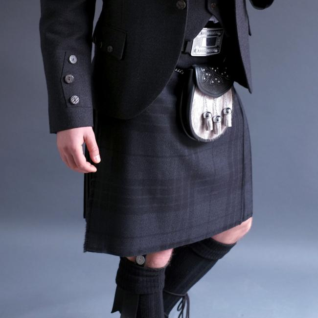 Mens Worsted Wool 5 Yard Grey Spirit Kilt