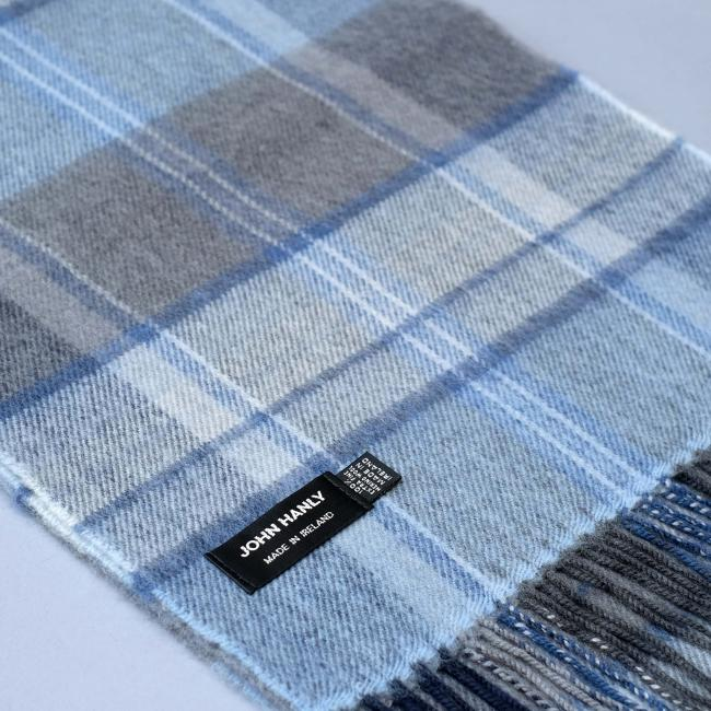 John Hanly merino wool scarf in blue and grey check pattern