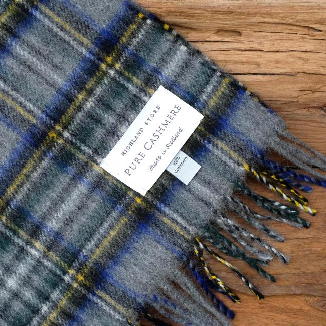Cashmere scarf in the traditional Grey Stewart Tartan
