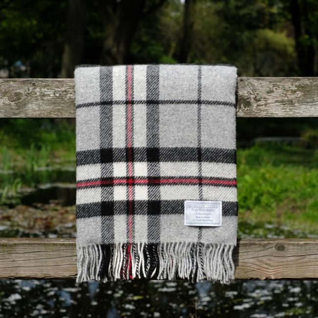 Highland Store Utility Rug Grey Thompson. Pure Wool Throw in Grey Thompson. Tartan Blanket.