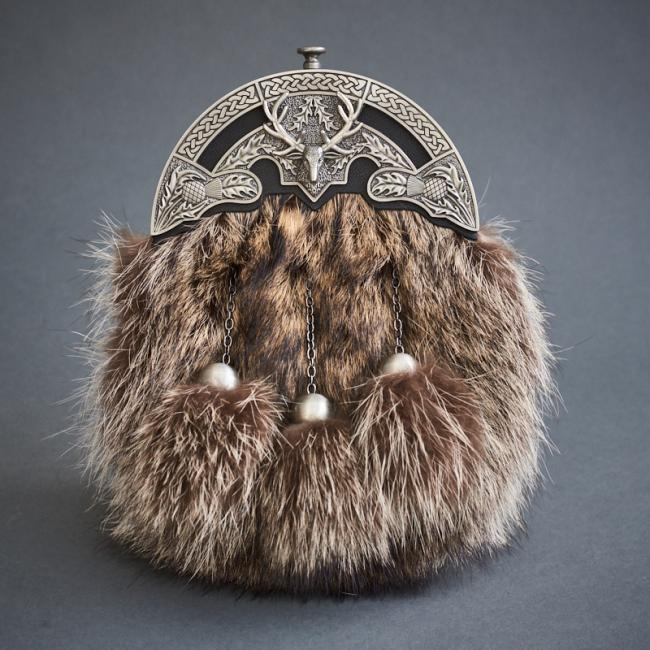 RACCOON FUR AND BRUSHED CANTLE WITH BLACK LEATHER