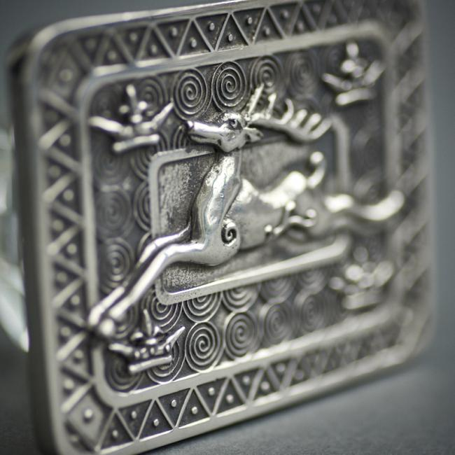 Kilt Belt Buckle with Leaping Stag