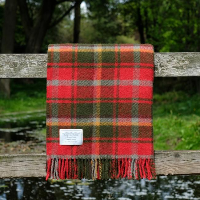 Highland Store Utility Rug Maple Leaf. Pure Wool Throw in Maple Leaf. Tartan blanket