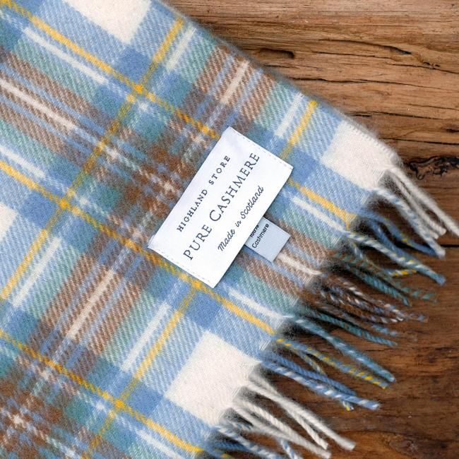 Cashmere scarf in the traditional muted Blue Stewart Tartan