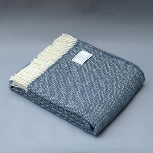 Pure New Wool Blanket in Navy