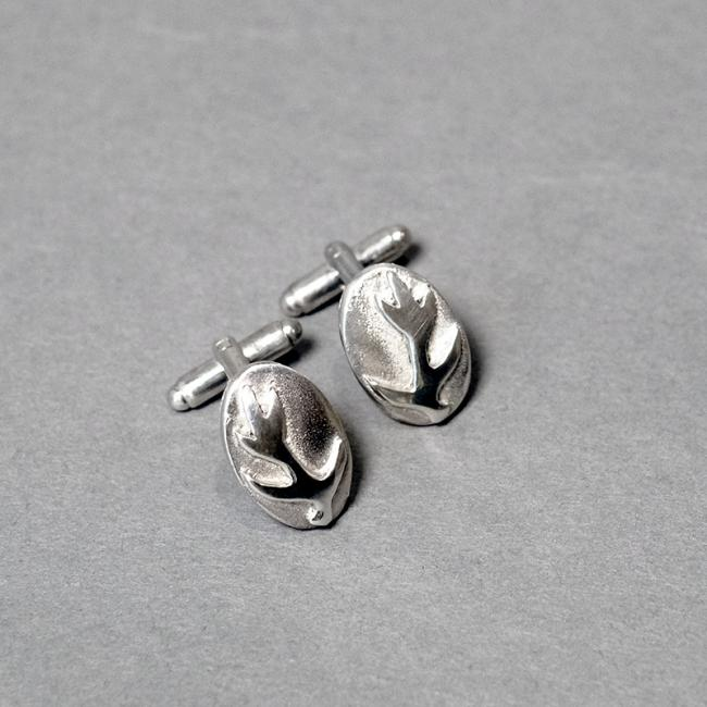 Oval Pewter Cufflinks with Stag Antler
