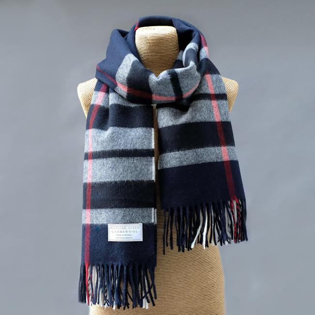 Oversized Navy Check Lambswool Stole