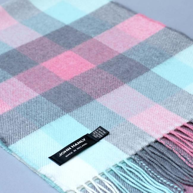 John Hanly baby blue merino wool scarf with check pattern