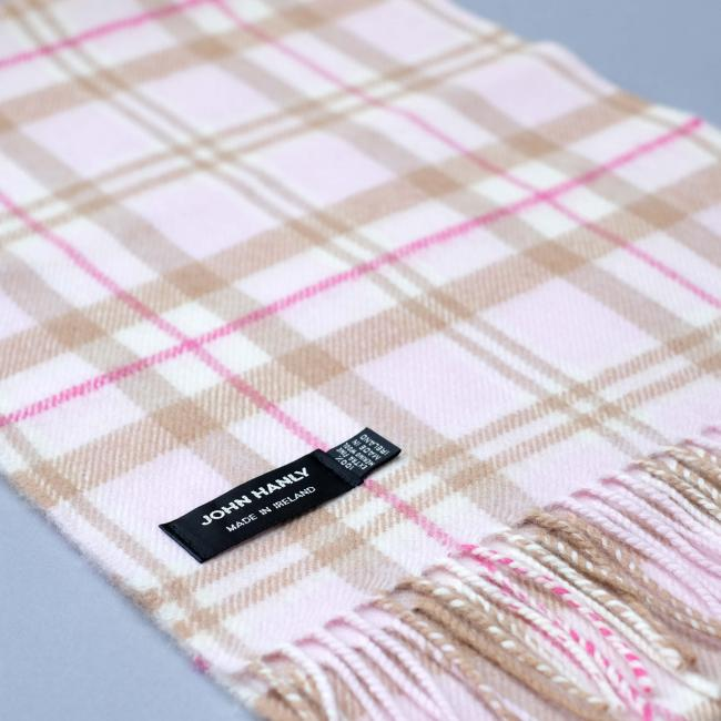 John Hanly baby pink merino wool scarf with check pattern