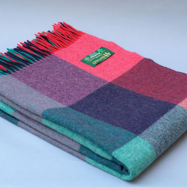 John Hanly Lambswool blanket in Pink Green and Purple Block Check