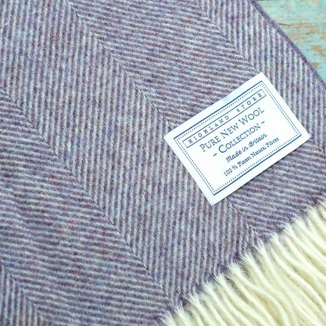 Fine lambswool herringbone blanket in Lavender