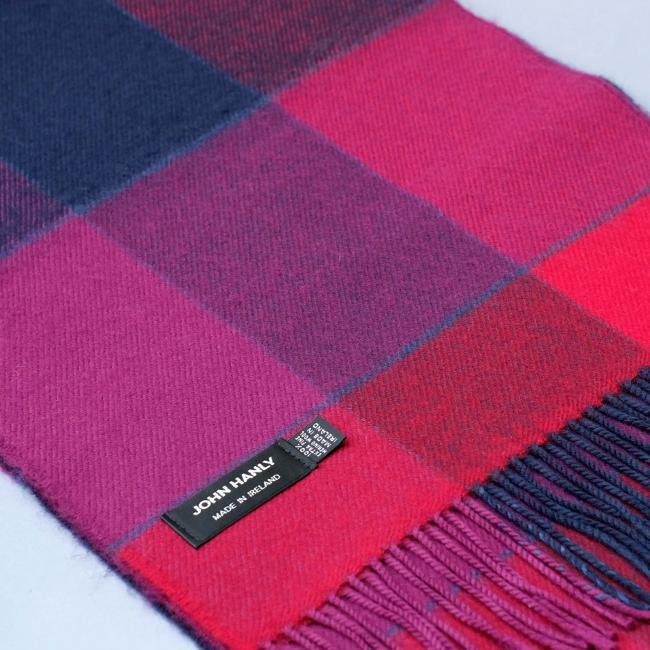 John Hanly merino wool scarf with red navy and fuchsia block check pattern