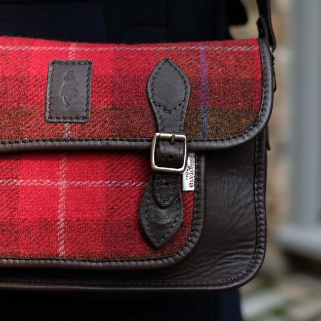 Handmade Satchel in Red Harris Tweed and Deer Leather
