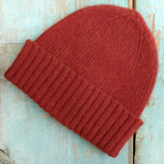 Brushed Wool Beanie Hat in Rust