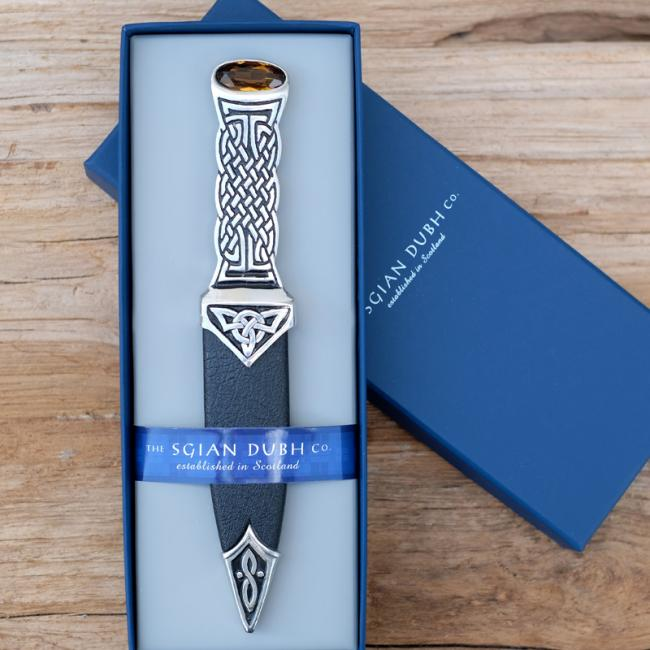 Sgian Dubh with Pewter Celtic Design Handle & Amber Stone