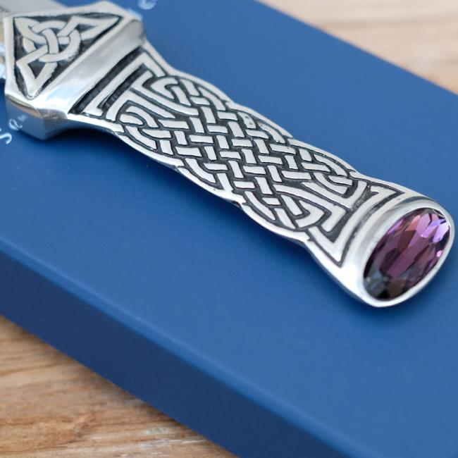 Sgian Dubh with Pewter Celtic Design Handle & Amethyst Stone