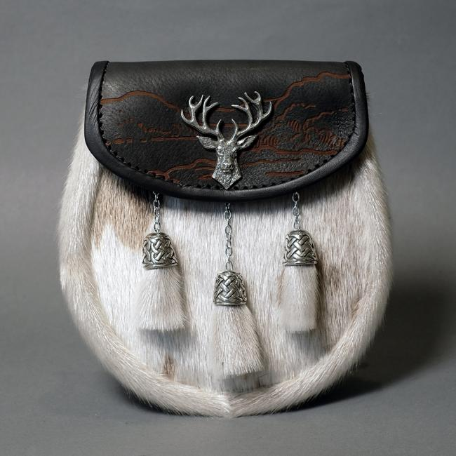 Saddle Leather and White Seal Fur Semi-Dress Sporran with Stag Head Emblem