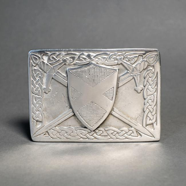 Kilt Belt Buckle with St Andrews Cross Shield and Swords