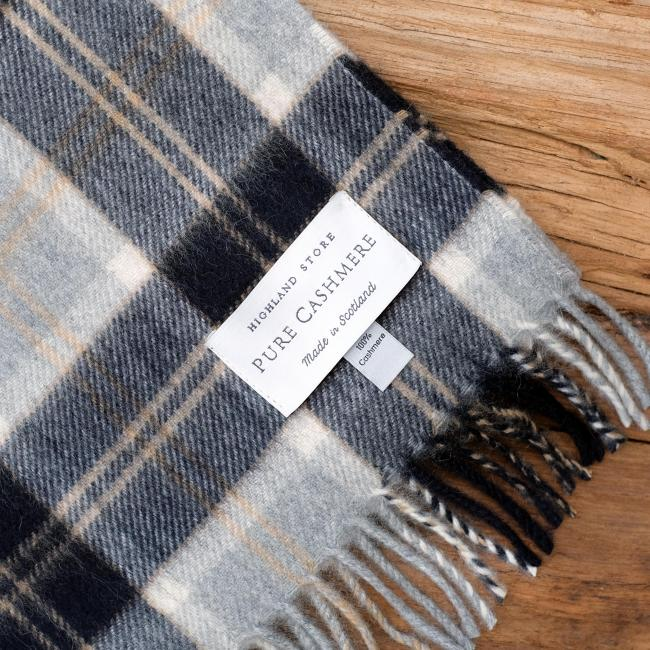 Cashmere scarf in the traditional Silver Bannockbane Tartan