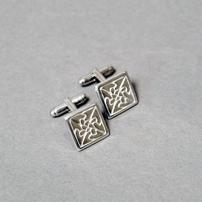 Square Pewter Cufflinks with Knot Design