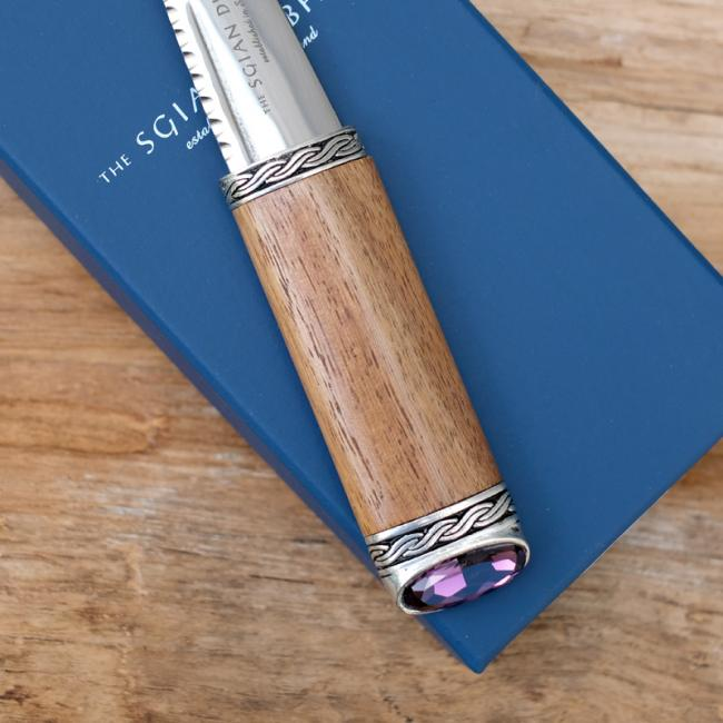 Sgian Dubh with Rosewood Handle & Amethyst Stone