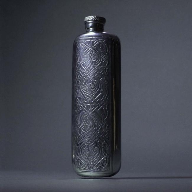 Pewter Flask with Intricate Celtic Design