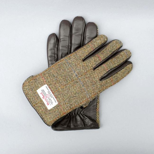 GREEN HARRIS TWEED AND BROWN LEATHER MENS GLOVES